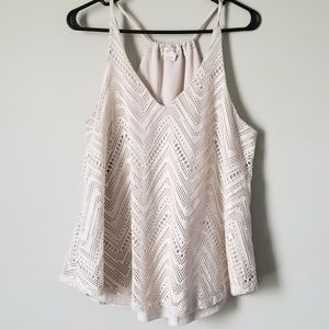 Cream Razorback Chevron Crochet Top